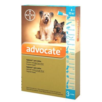 Капли ADVOCATE Адвокат комплексное средство от паразитов для собак 4-10 кг, 3 шт в упаковке