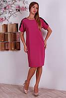 Нарядное трикотажное платье миди урашено кружевом, для пышных форм