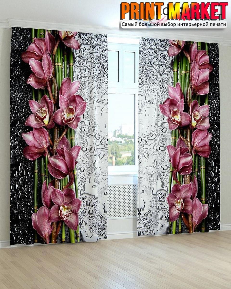 Фотошторы цветы и капли 3д