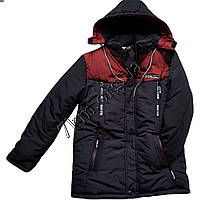 """Куртка подростковая для мальчиков """"Columbia-main"""" 10-15 лет +вишневый Оптом 300901"""