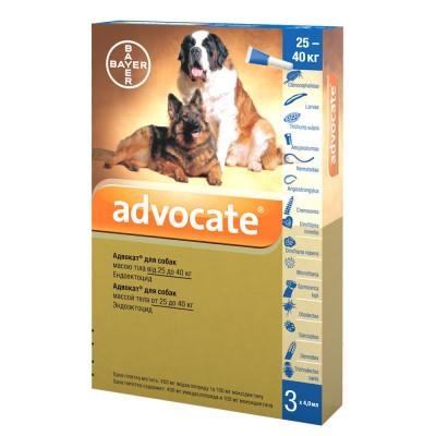 Капли на холку ADVOCATE Адвокат комплексное средство от паразитов для собак 25-40 кг, 3 шт в упаковке