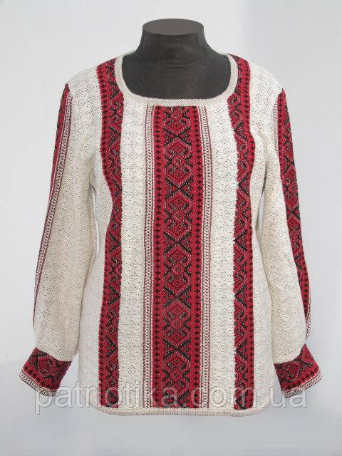 Вязаная рубашка-вышиванка Маруся темно-красная   В'язана сорочка-вишиванка Маруся темно-червона