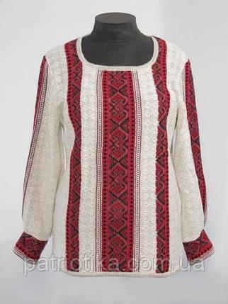 Вязаная рубашка-вышиванка Маруся темно-красная   В'язана сорочка-вишиванка Маруся темно-червона, фото 2