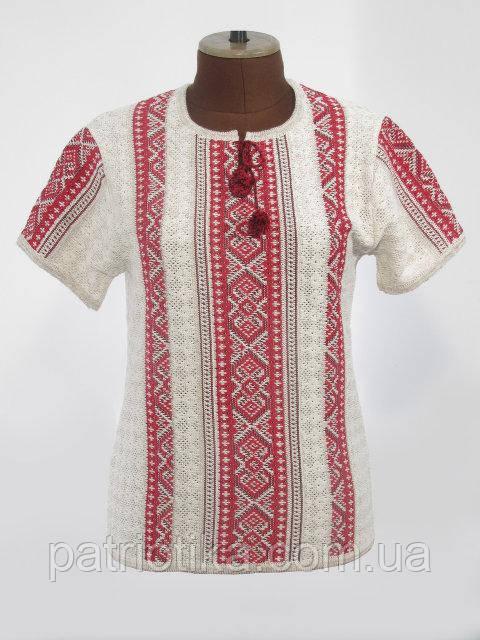 Вязаная рубашка-вышиванка Маруся светло-красная | В'язана сорочка-вишиванка Маруся світло-червона