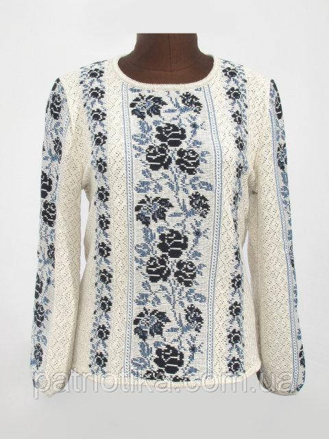 Вязаная рубашка-вышиванка Розы синие | В'язана сорочка-вишиванка Троянди сині