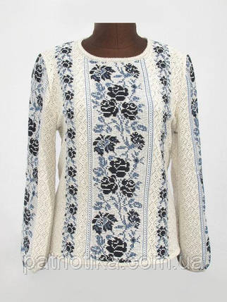 Вязаная рубашка-вышиванка Розы синие   В'язана сорочка-вишиванка Троянди сині, фото 2