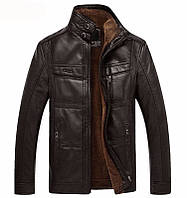 Куртка кожаная на меху,мужская дубленка кожаная.