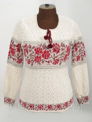 Женская вязаная вышиванка Розы красные горизонтальные | Жіноча в'язана вишиванка Троянди червоні горизонтальні, фото 2