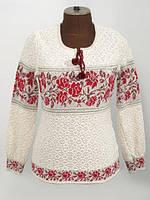 Женская вязаная вышиванка Розы красные горизонтальные | Жіноча в'язана вишиванка Троянди червоні горизонтальні