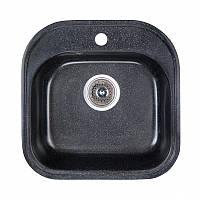Мойка из искусственного гранита черная квадратная 48 см Fosto SGA-420
