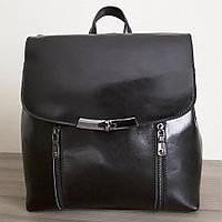 Рюкзак - сумка  женский кожаный черный 1024-1