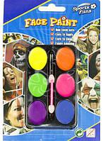 Грим карнавальный палитра флуоресцентная 6 цветов.