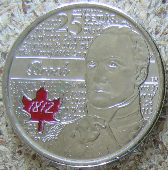 """Канада, 25 центов 2012 """"Война 1812. Брок""""(красный кленовый лист) UNC"""