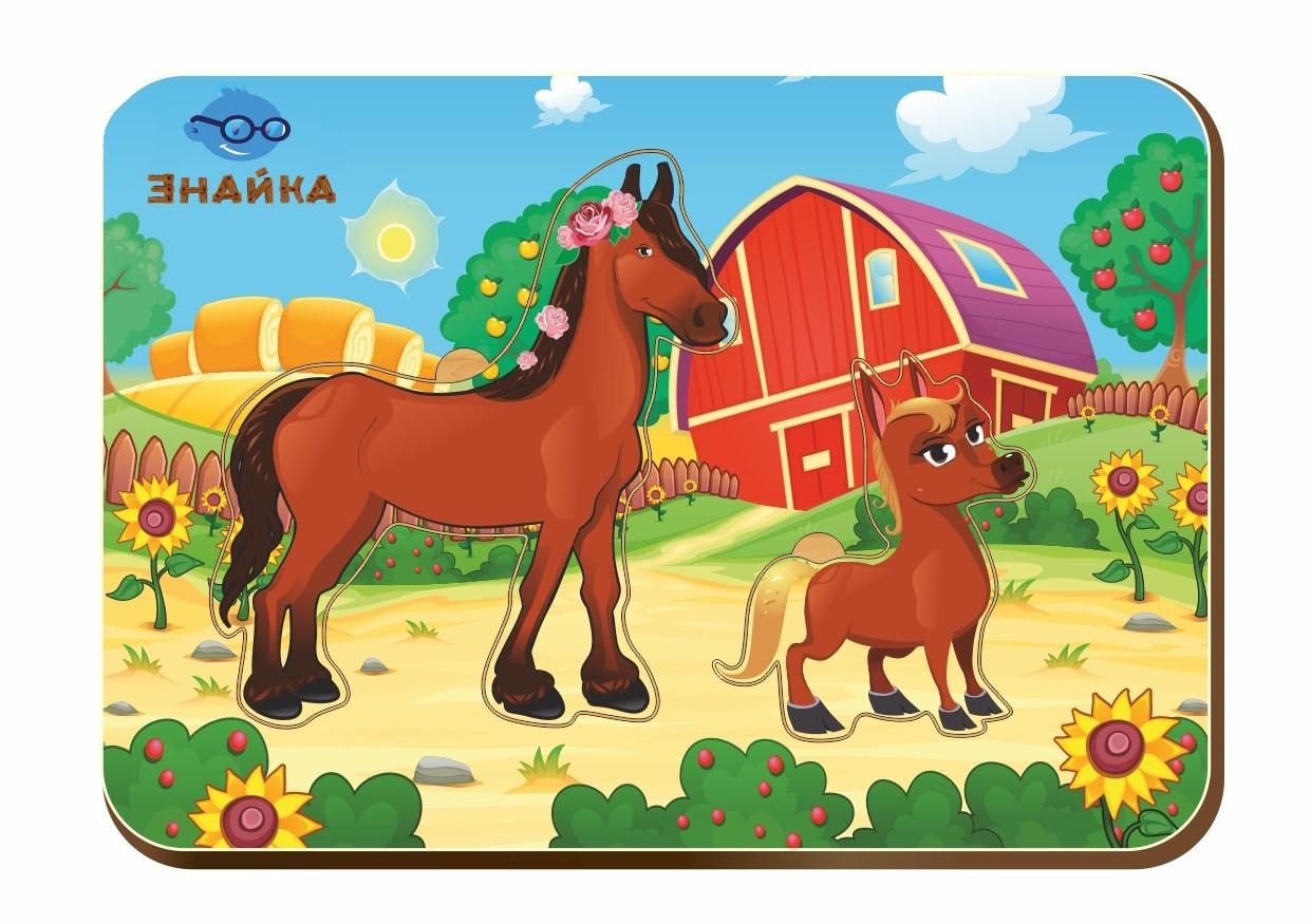 Деревянный вкладыш «Мама и детеныш», лошадки