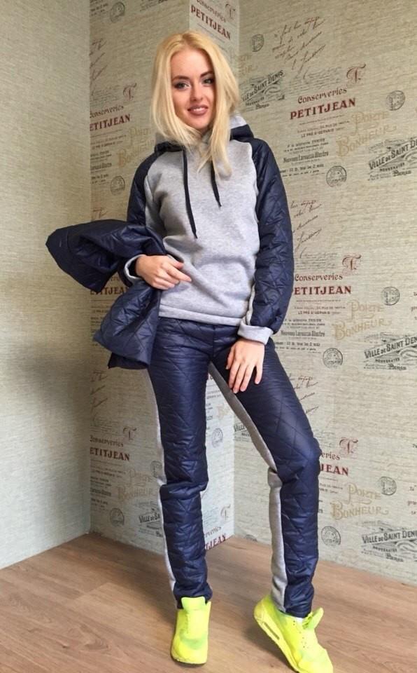 Спорт костюм теплий трійка жилетка штани, кофта з плащевкой 42 44 46
