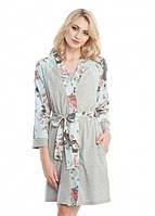 Трикотажный халат меланж/голубые цветы
