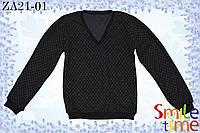Свитер утепленный с V-образным вырезом р.122,128,134,140,146,152 SmileTime, черный