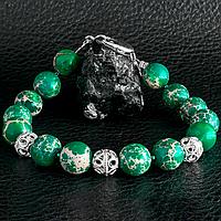 Варисцит зеленый, Ø10 мм., серебро, браслет, 290БРВ