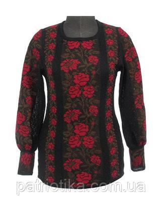 Вышиванка женская Розы красные х/б   Вишиванка жіноча Троянди червоні х/б, фото 2