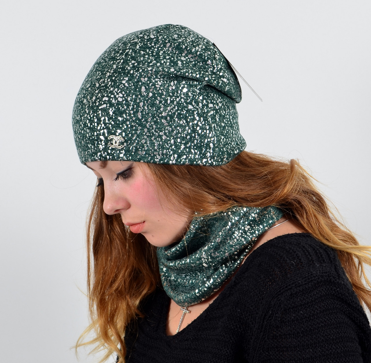 Трикотажный комплект(шапка+хомут) Глитер