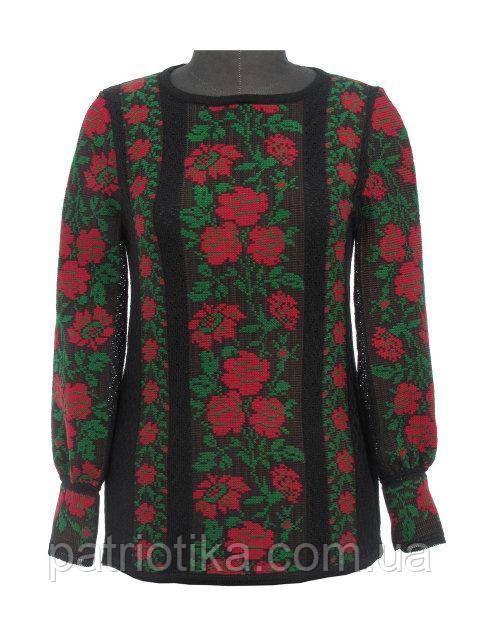 Вышиванка женская Розы красные х/б | Вишиванка жіноча Троянди червоні х/б