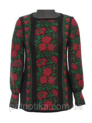 Вышиванка женская Розы красные х/б | Вишиванка жіноча Троянди червоні х/б, фото 2