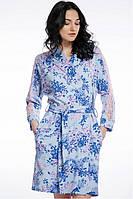 Женский хлопковый халат голубой в цветы