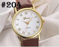 Женские часы Geneva с коричневым ремешком (204)