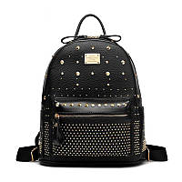 Рюкзак женский вместительный с заклепками (черный), фото 1