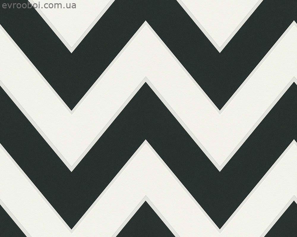 Немецкие дизайнерские обои 949331 черный и белый зигзаг шеврон, креативный горизонтальный узор зиг-заг