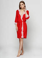 Вискозный халат красный/ белое кружево