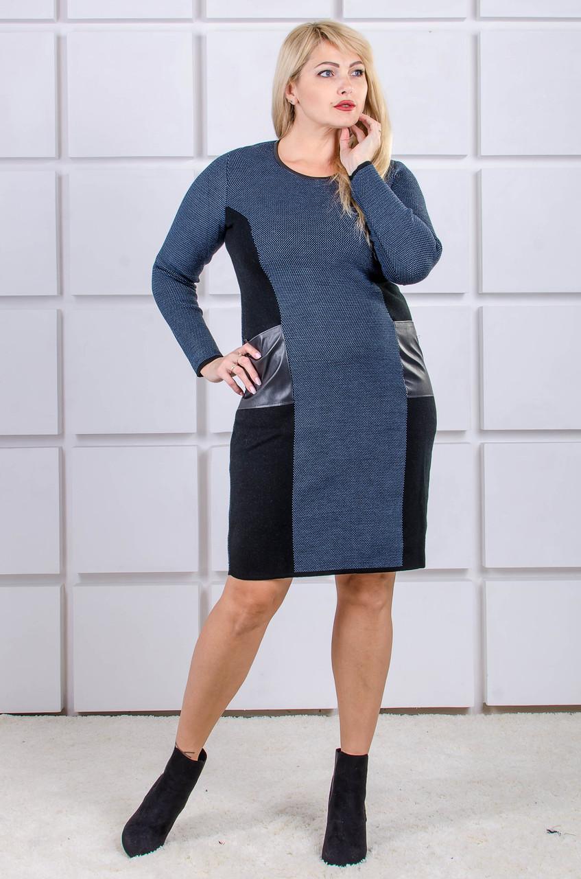 Вязаное платье большой размер Stil джинс (46-56)