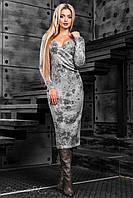 Модное теплое платье футляр вязаное с принтом 42-50 размера