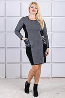 Вязаное платье большой размер Stil черно-белое (46-56)
