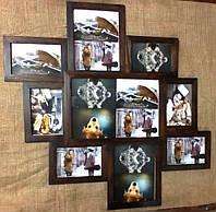 Деревянная эко мультирамка, коллаж #509 тёмный орех, венге, белый, чёрный., фото 1