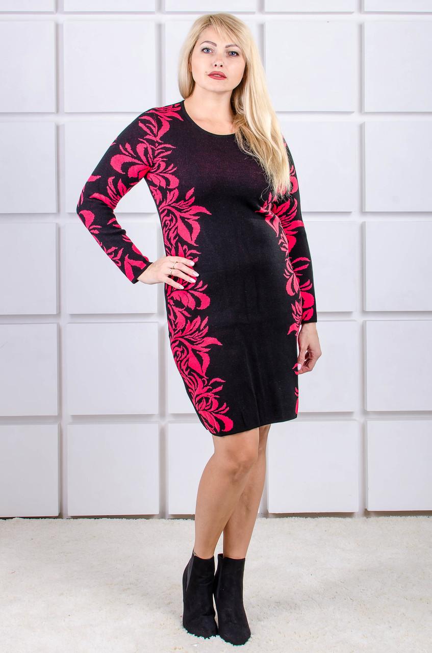 Вязаное платье большого размера Ledy красные цветы(46-56)