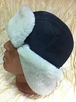 Мужская  ушанка из серой натуральной белой овчины и серого верха , фото 1