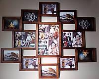 Деревянная эко мультирамка, коллаж № 113 венге, орех, белый, чёрный.