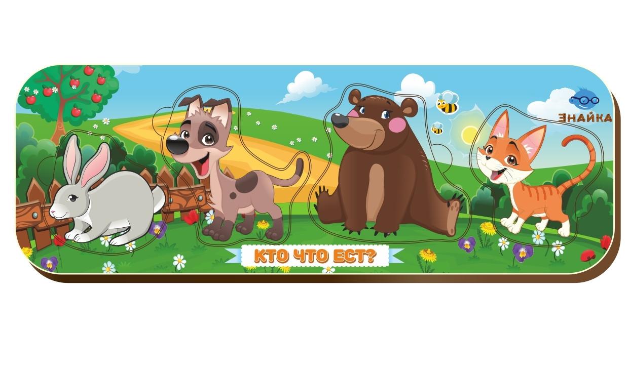 Вкладыш «Кто что ест?», кролик-собака-медведь-кошка, 011902