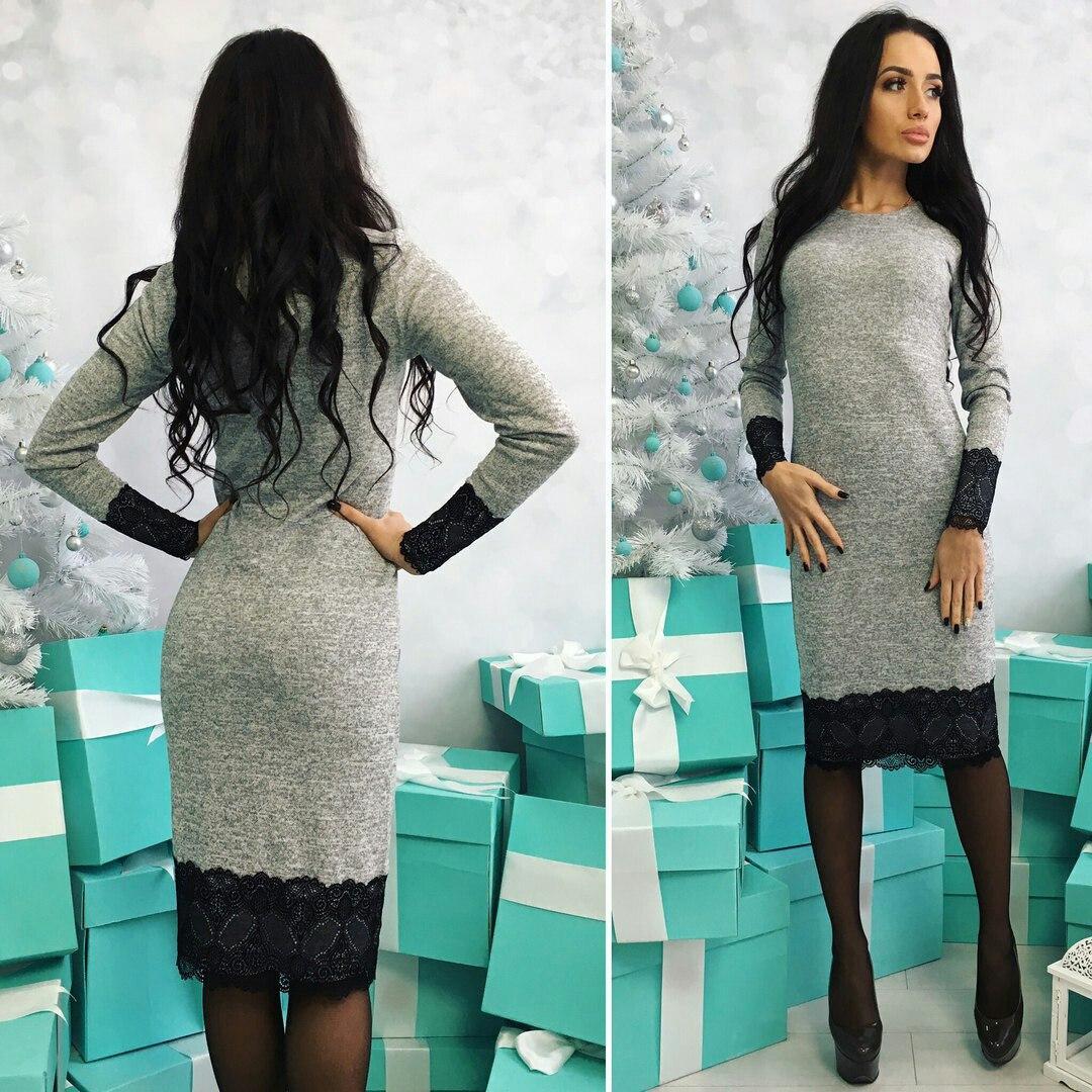 Прямое платье с кружевом ниже колена «Aimee»