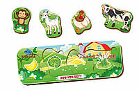 Вкладыш «Кто что ест?», обезьяна-коза-курица-корова, 011901