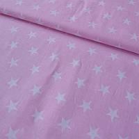 Ткань с густыми белыми звездами на розовом фоне, фото 1