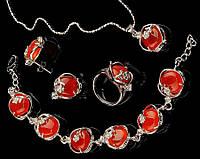 """Набор украшений """"Сердолик"""" высокого качества. Очень красивый набор. Натуральный камень. Купить. Код: КДН2347"""