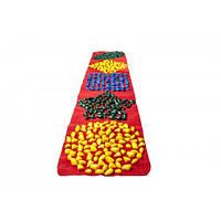 Массажный коврик с цветными камнями детский развивающий 200 х 40 см / коврик детский камешки