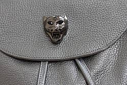 Красивый кожаный рюкзак серебро, фото 3