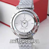 Серебряные часы Pandora 6861-1 c буквой О и короной, вращающийся циферблат