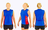 Форма волейбольная женская 6503W-BL (полиэстер, р-р S-3XL, синий)