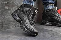 Мужские кроссовки  Nike Air Max 95 пресскожа ( зима), черные