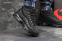 Мужские кроссовки  Nike Air Max 95 нубук ( зима), черные