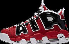 Кроссовки мужские Найк Nike Air More Uptempo Black/White/Red. ТОП Реплика ААА класса.